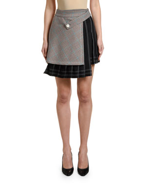 Off-White Checked Multi-Panel Mini Skirt