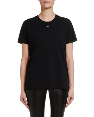 Off-White Short-Sleeve Shifted Casual Tee, Black
