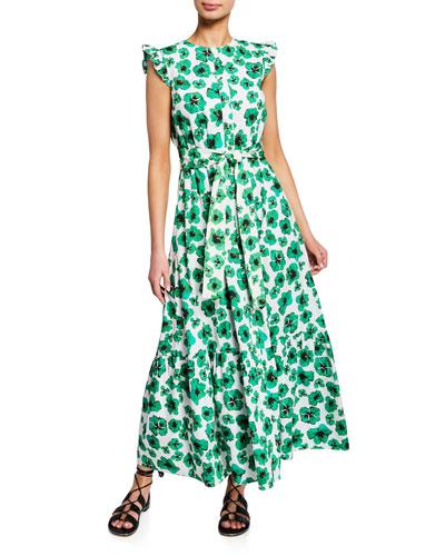 Gabriella Floral-Print Poplin Sleeveless Dress
