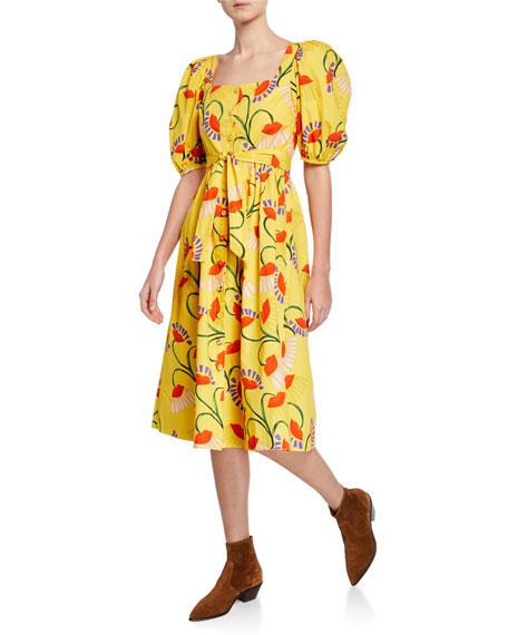 Corin Puff-Sleeve Floral-Print Poplin Dress
