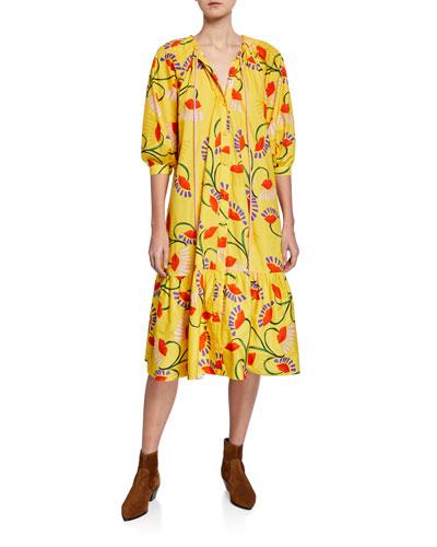 Natalia Floral-Print Poplin Tunic Dress
