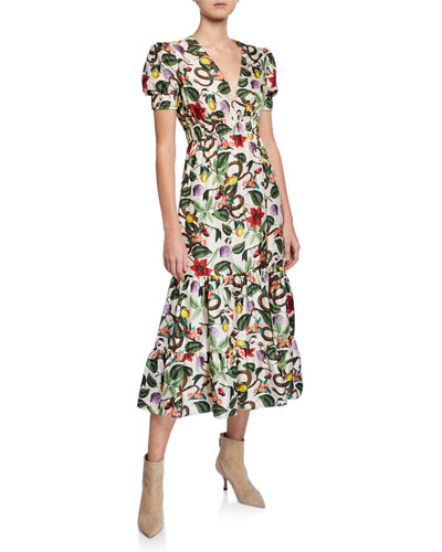 Lucia Floral & Snake Print Twill Dress