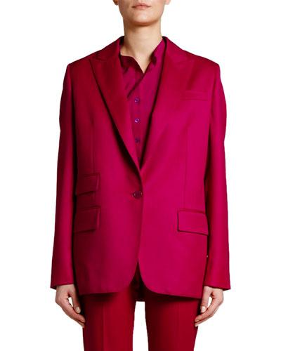 Oversized One-Button Wool Blazer
