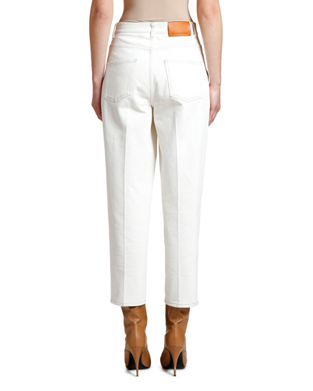 Cropped Straight-Leg Utility Pocket Jeans