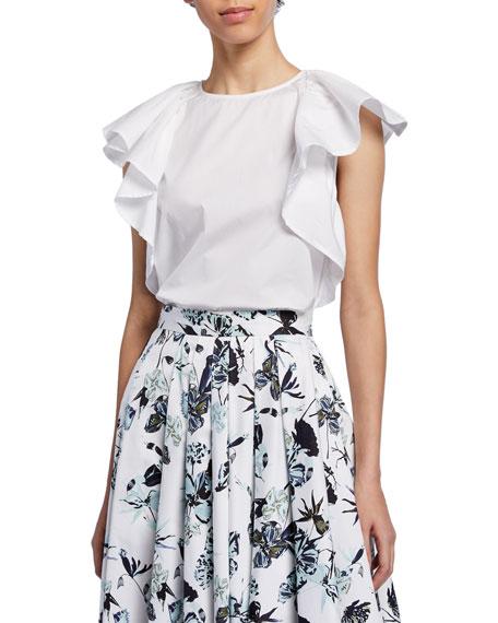 Flutter-Sleeve Cotton-Shirting Top