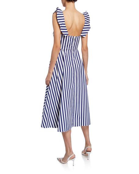 Knotted Striped-Poplin Midi Dress