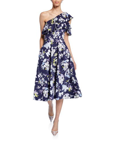 One-Sleeve Floral-Print Midi Dress