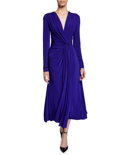 Twisted V-Neck Jersey Midi Dress