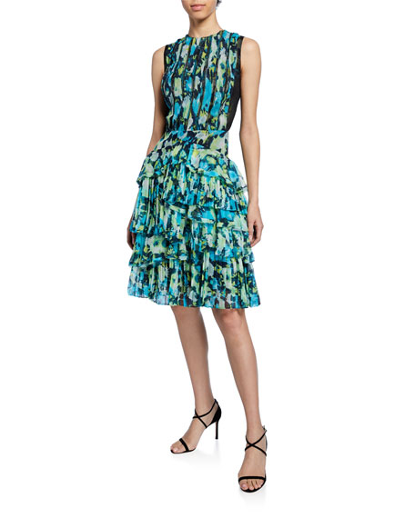 Floral-Print Tiered Ruffle-Chiffon Dress