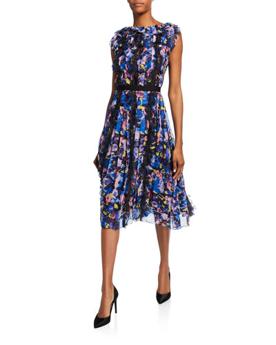 Floral Print Ruffled Chiffon Midi Dress