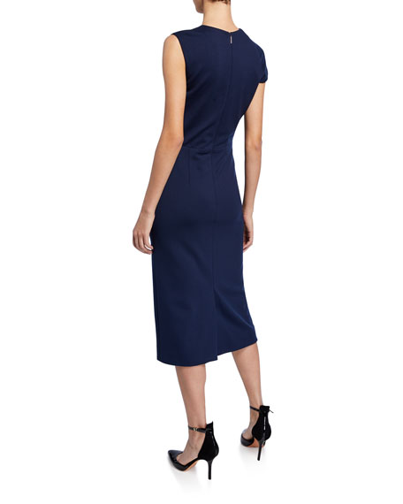 Twisted Stretch Ponte Midi Dress