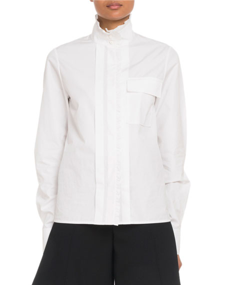 High-Neck Poplin Button-Front Utility Shirt