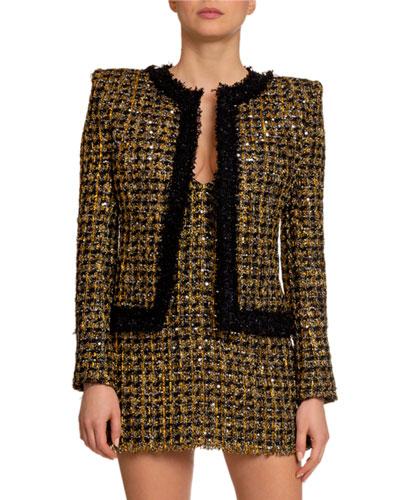 Metallic Tweed Open-Front Jacket
