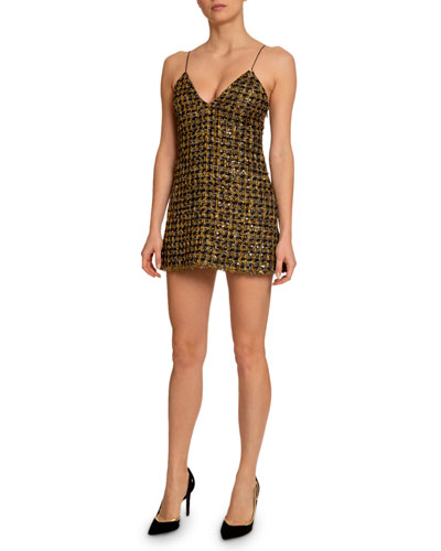 Metallic Tweed V-Neck Dress
