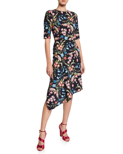 1/2-Sleeve Floral Cady Asymmetric Dress