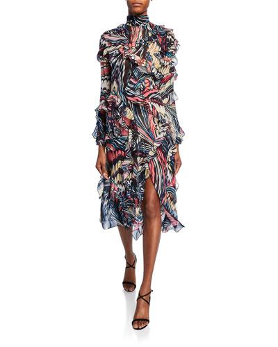High-Neck Marbled-Chiffon Midi Dress