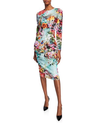 Long-Sleeve Floral Bodycon Dress