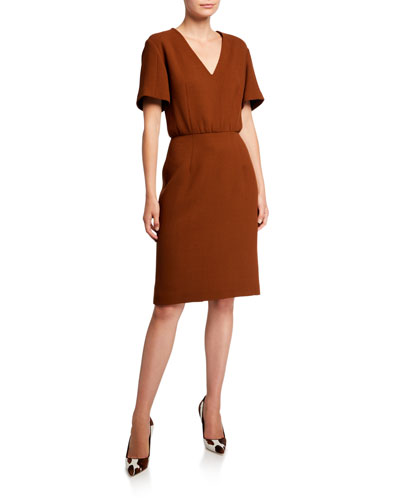 Vicuna Crepe 3/4-Sleeve Dress