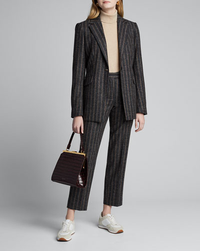 Pinstriped Wool Cigarette Pants