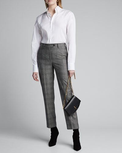 Checked Wool-Cashmere Skinny Pants