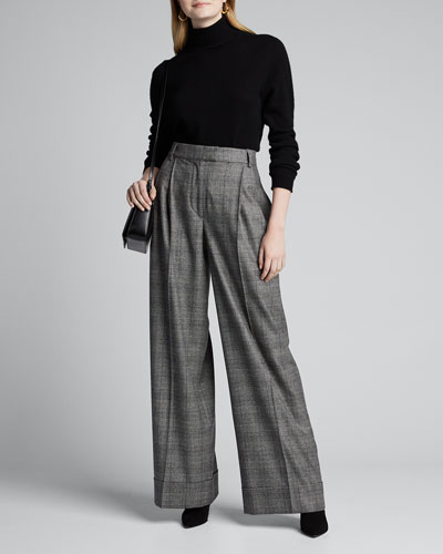 Checked Wool-Cashmere Palazzo Pants