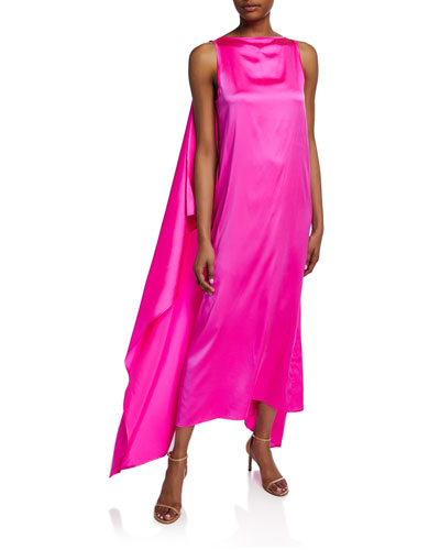 Judy Caped-Back Satin Dress