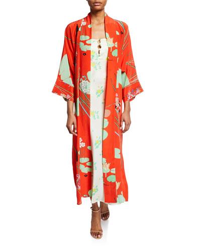 Floral Print Silk Crepe de Chine Robe  Red