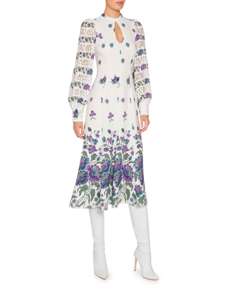 Printed Silk Long-Sleeve Keyhole Dress with Lace