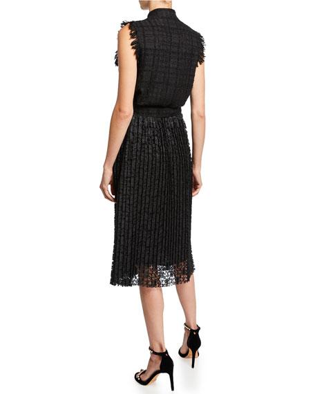 Sleeveless Tweed Dress w/ Pearly Trim
