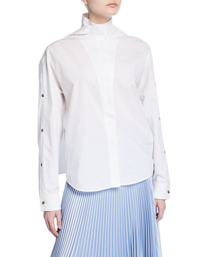High-Neck Poplin Blouse
