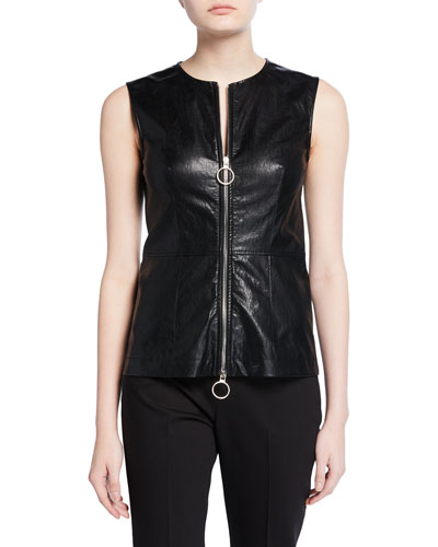 Faux-Leather Zip-Front Tank