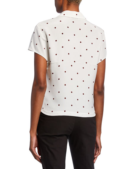 Polka Dot Notched-Collar Short-Sleeve Silk Blouse