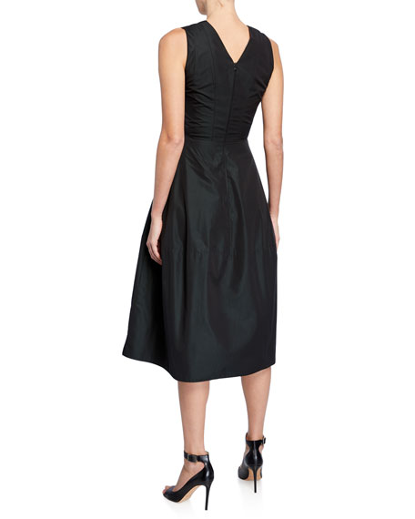 Empire-Waist Taffeta Midi Dress