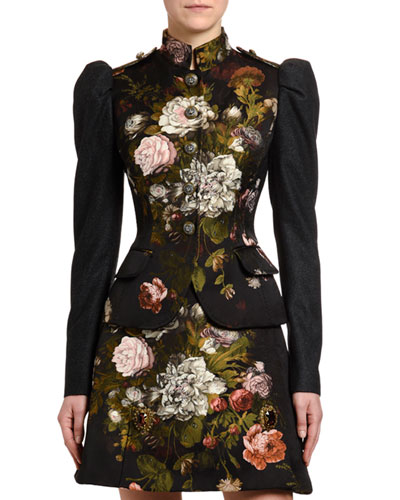 Baroque Rose-Jacquard Puff-Sleeve Jacket