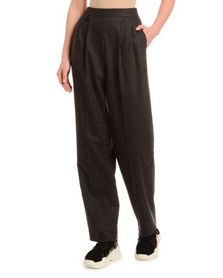 Straight-Leg Wool Cashmere Flannel Pants