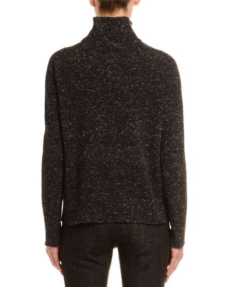 Melange Cashmere-Tweed Turtleneck Sweater, Black/White