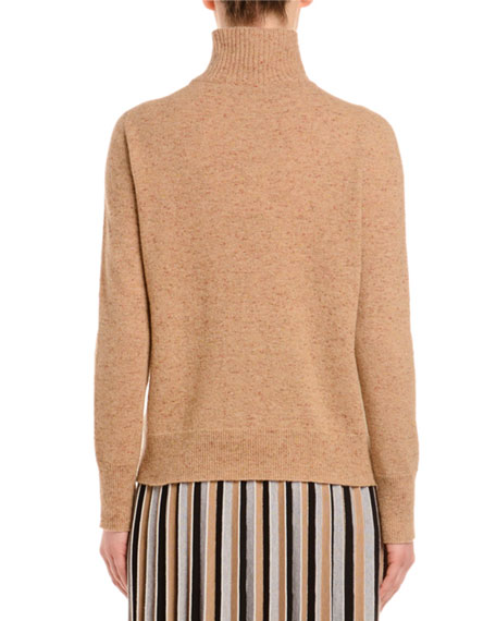 Melange Cashmere-Tweed Turtleneck Sweater, Camel