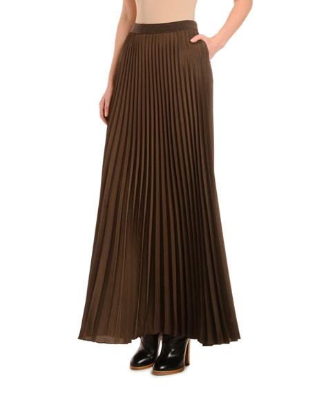 Pleated Crepe de Chine Long Skirt
