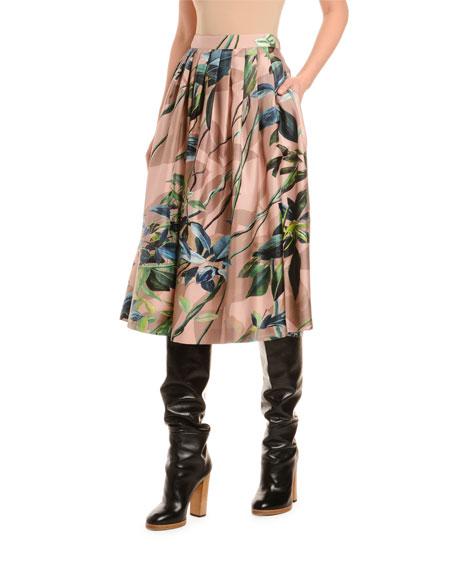 Floral Print Silk Skirt