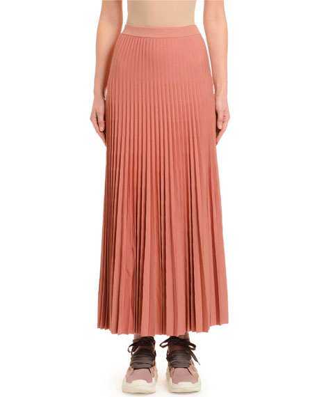 Pleated Wool Skirt, Dark Pink