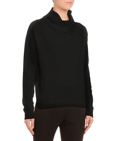 Cashmere Cowl Neck Sweater, Black