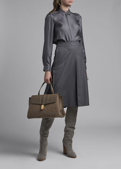 Silk Twill Button-Front Blouse  Gray