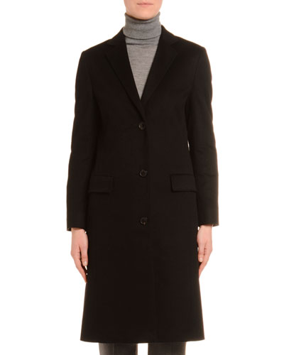 Cashmere Single-Breasted Slim Coat  Black