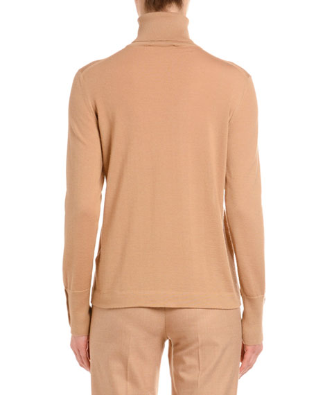Cashmere-Silk Turtleneck Sweater, Camel