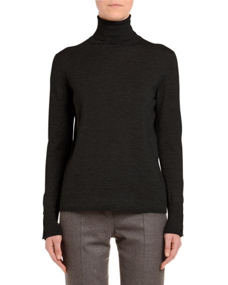 Cashmere-Silk Turtleneck Sweater, Black