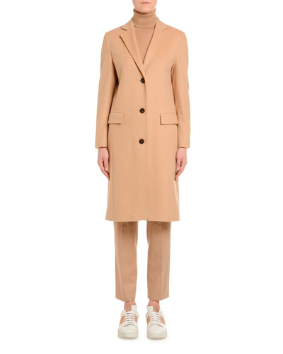 Cashmere Single-Breasted Slim Coat  Camel
