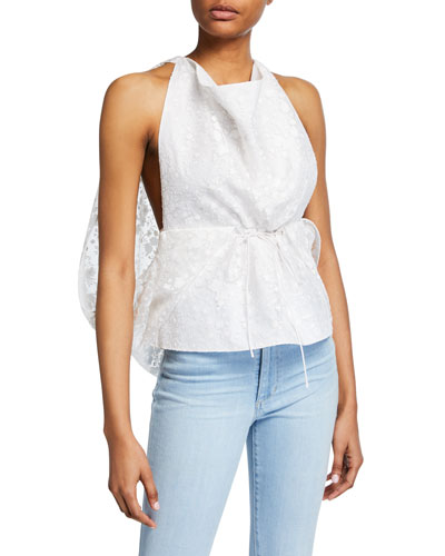 Lace Cowl Cape Tank Top