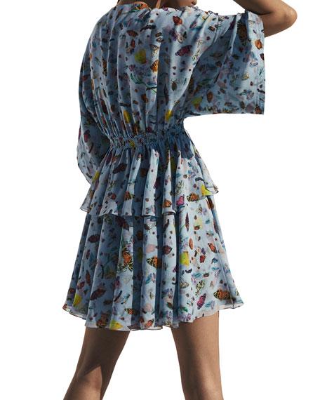 Butterfly-Print Silk Kimono Mini Dress