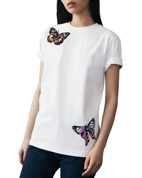 Butterfly-Embroidered Tee, White