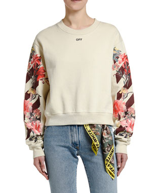 Off-White Floral-Sleeve Crop Sweatshirt